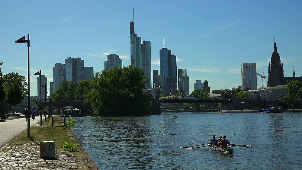 Skyline and Main River, Frankfurt am Main, Hesse, Germany - 396-8936