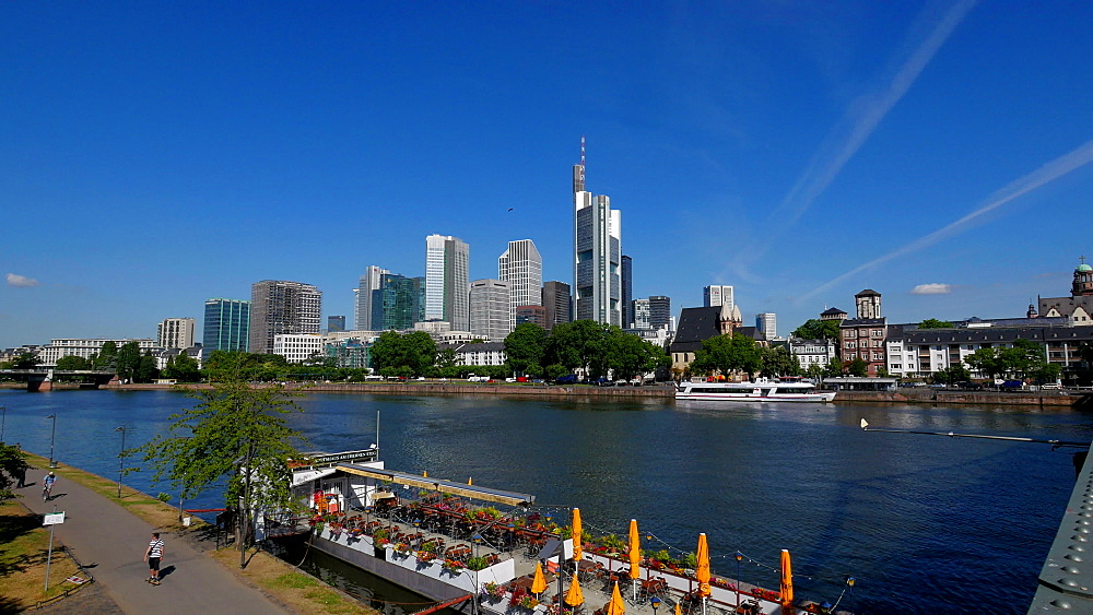 Main River and skyline of Financial District, Frankfurt am Main, Hesse, Germany