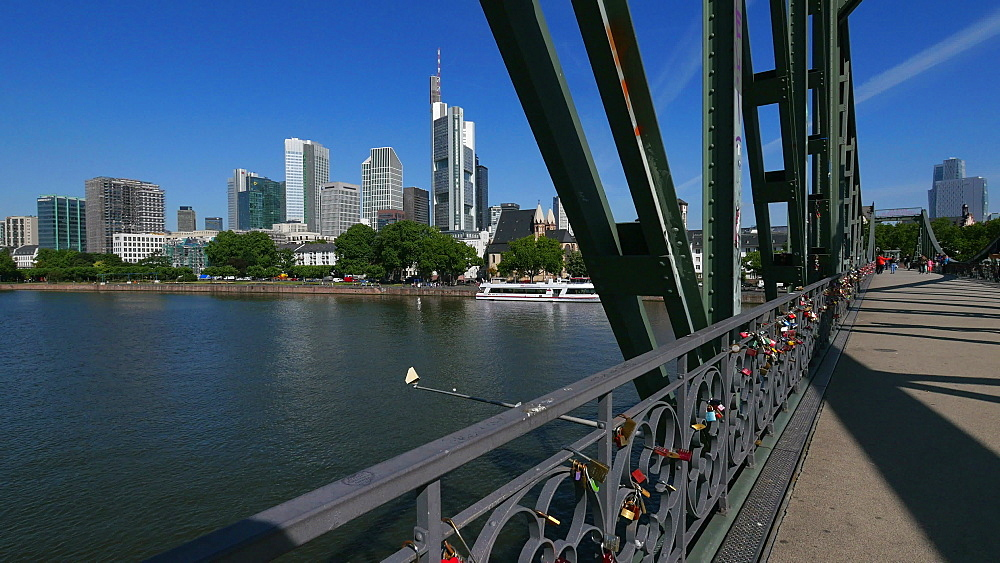 Eiserner Steg Bridge, Main River and Financial District, Frankfurt am Main, Hesse, Germany - 396-8940