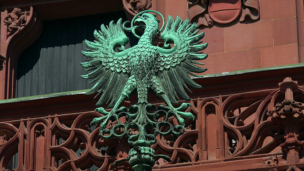 Municipal Coat of Arms on the Roemer Town Hall on Roemerberg, Frankfurt am Main, Hesse, Germany