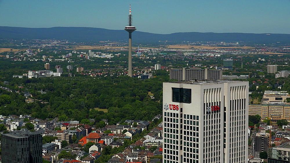 Opernturm, UBS Europe SE, and Television Tower, Frankfurt am Main, Hesse, Germany