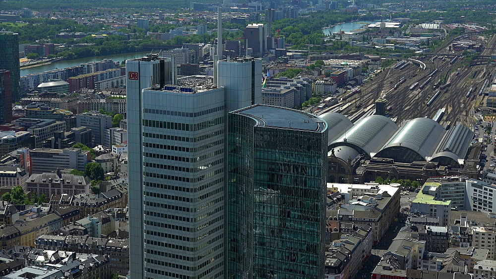 DB Systel and Skyper Buildings with Central Station, Frankfurt am Main, Hesse, Germany