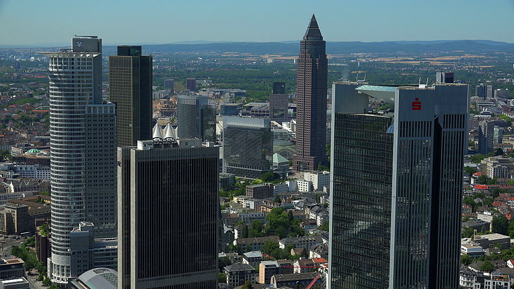 Financial District and Messeturm, Frankfurt am Main, Hesse, Germany