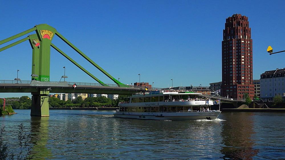 Floesser Bridge and Main River, Frankfurt am Main, Hesse, Germany