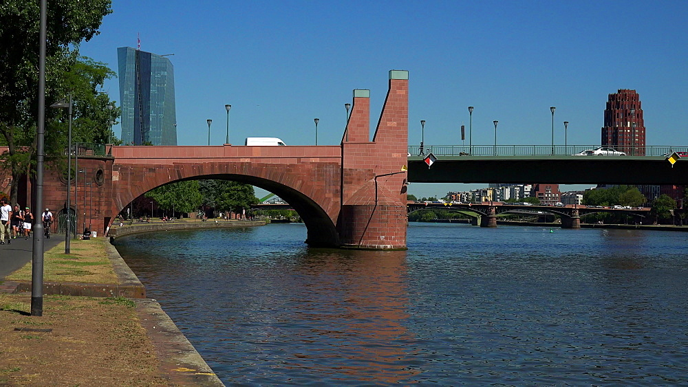 Ignaz-Bubis Bridge and Main River, Frankfurt am Main, Hesse, Germany