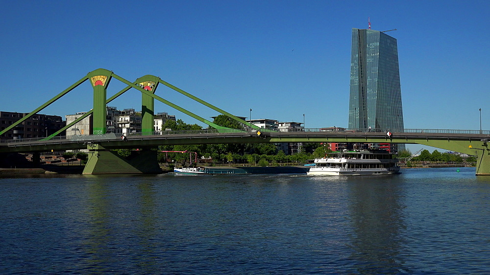 Main River, Floesser Bridge and European Central Bank, ECB, Frankfurt am Main, Hesse, Germany