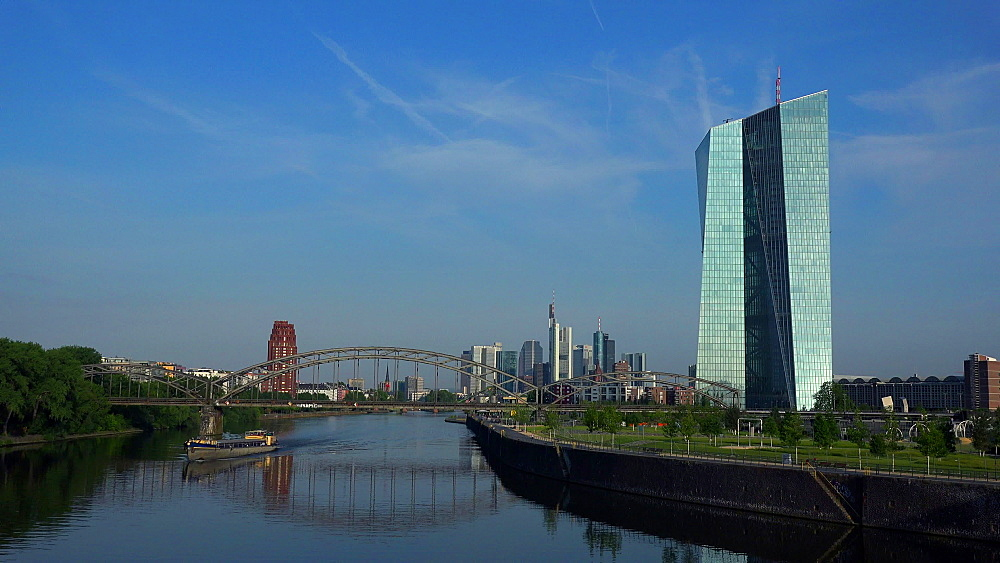 Main River, Hafenpark, European Central Bank, ECB, and skyline, Frankfurt am Main, Hesse, Germany