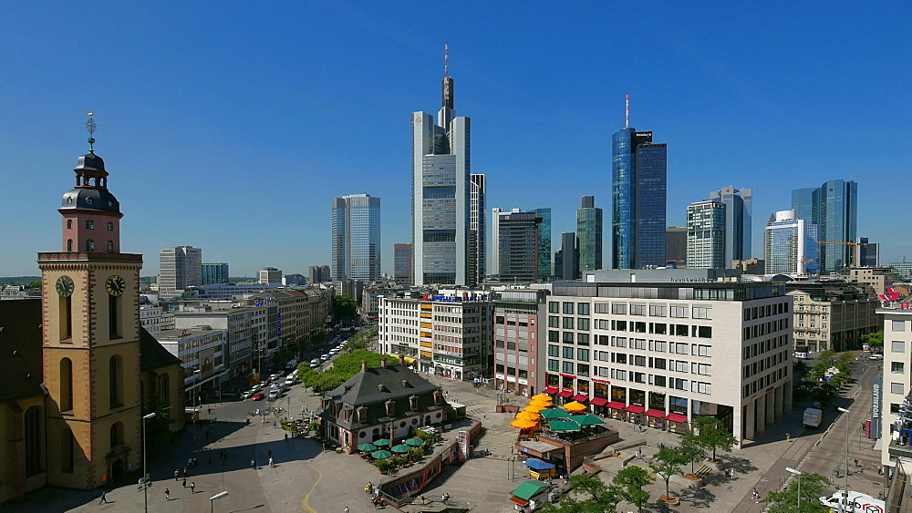 Church St. Catherine at Hauptwache and Financial District, Frankfurt am Main, Hesse, Germany