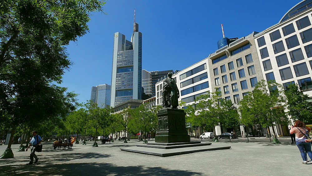 Goethe Monument at Goetheplatz and Commerbank Building, Frankfurt am Main, Hesse, Germany