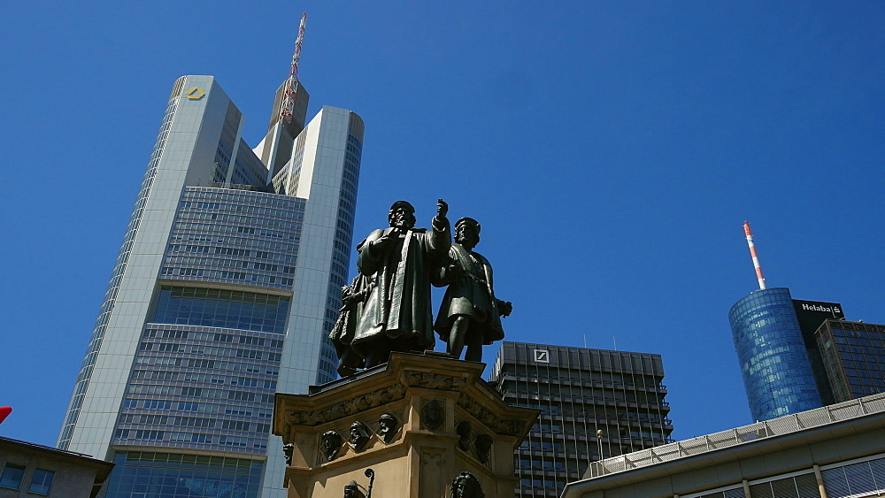 Gutenberg Monument at Rossmarkt and Commerzbank Building, Frankfurt am Main, Hesse, Germany - 396-8977