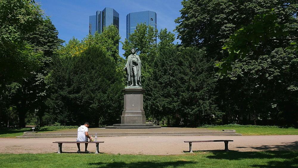 Schiller Monument at Taunusanlage and Deutsche Bank Building, Frankfurt am Main, Hesse, Germany