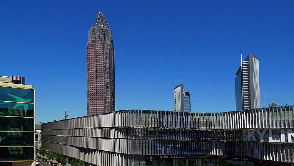Skyline Plaza Shopping Centre and Messeturm, Fair Tower, Frankfurt Fair, Frankfurt am Main, Hesse, Germany