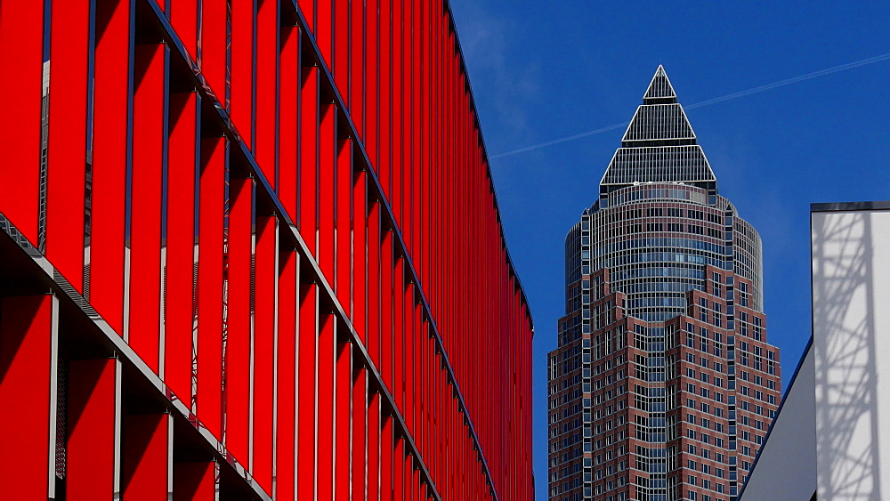 Skyline Plaza Shopping Centre at Europa Allee and Messeturm, Fair Tower, Frankfurt am Main, Hesse, Germany