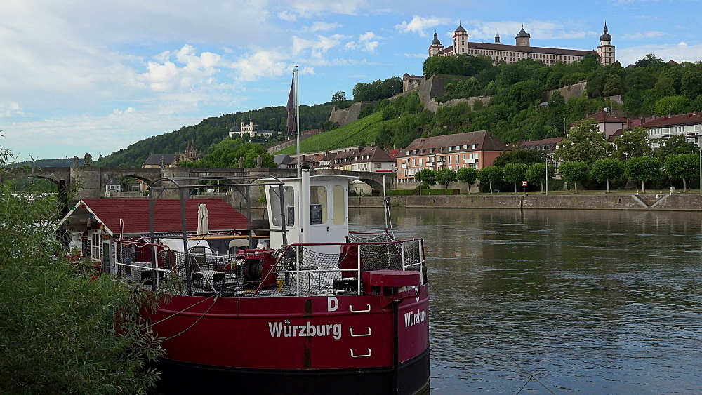 River Main with Marienberg Fortress, Wuerzburg, Lower Franconia, Bavaria, Germany - 396-9017