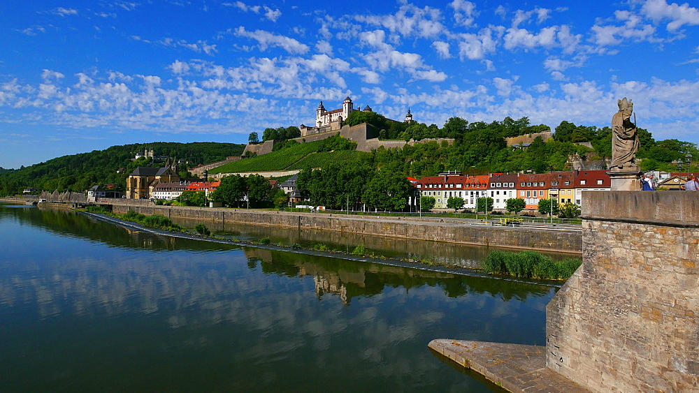 Old Bridge across River Main with Marienberg Fortress, Wuerzburg, Lower Franconia, Bavaria, Germany