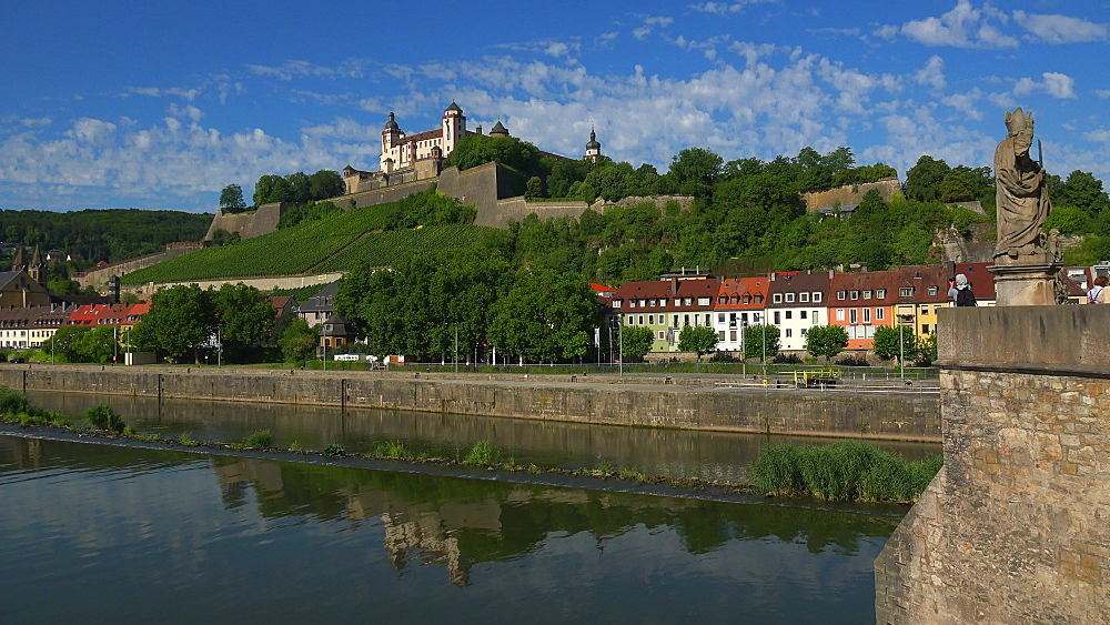 Old Bridge across River Main with Marienberg Fortress, Wuerzburg, Lower Franconia, Bavaria, Germany - 396-9032