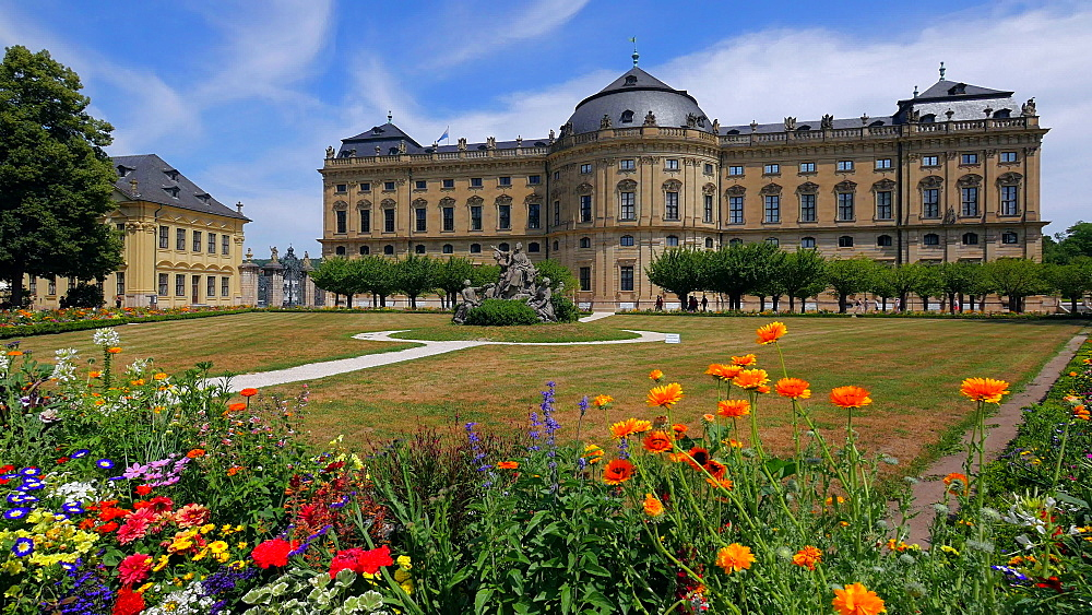Residence and Hofgarten, Wuerzburg Residence, Wuerzburg, Lower Franconia, Bavaria, Germany