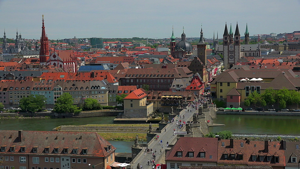 City with Main River, Old Bridge, Neumuenster Collegiate Church, Town Hall, St. Kilians Cathedral, Wuerzburg, Lower Franconia, Bavaria, Germany