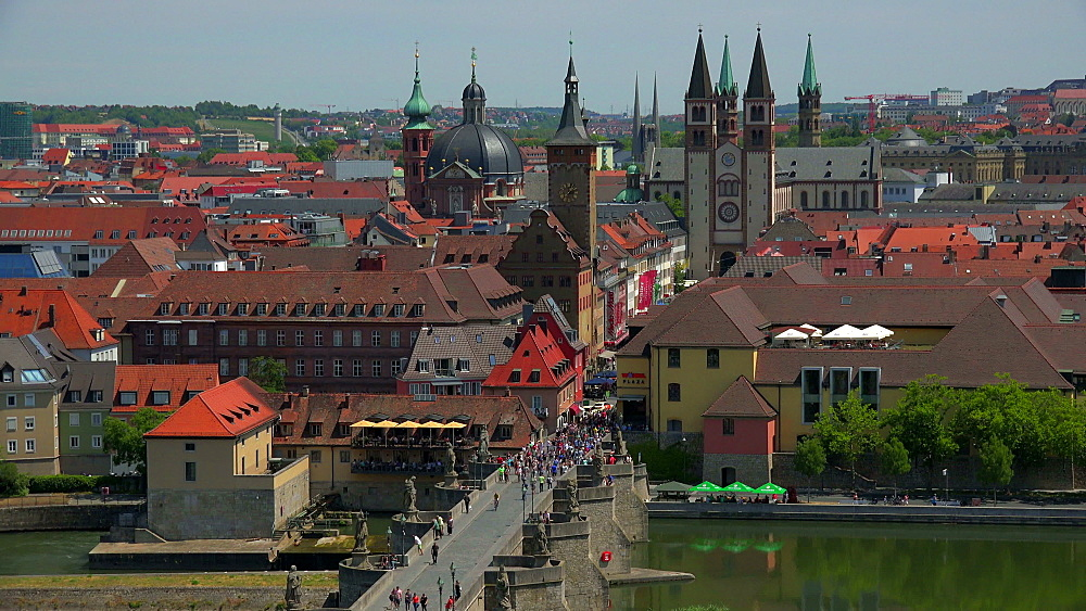 City with Main River, Old Bridge, Neumuenster Collegiate Church, Town Hall, St. Kilians Cathedral, Wuerzburg, Lower Franconia, Bavaria, Germany - 396-9066
