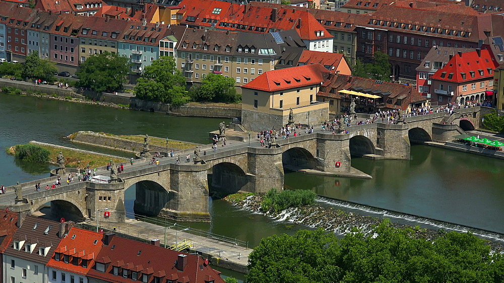 Old Bridge over Main River, Wuerzburg, Lower Franconia, Bavaria, Germany