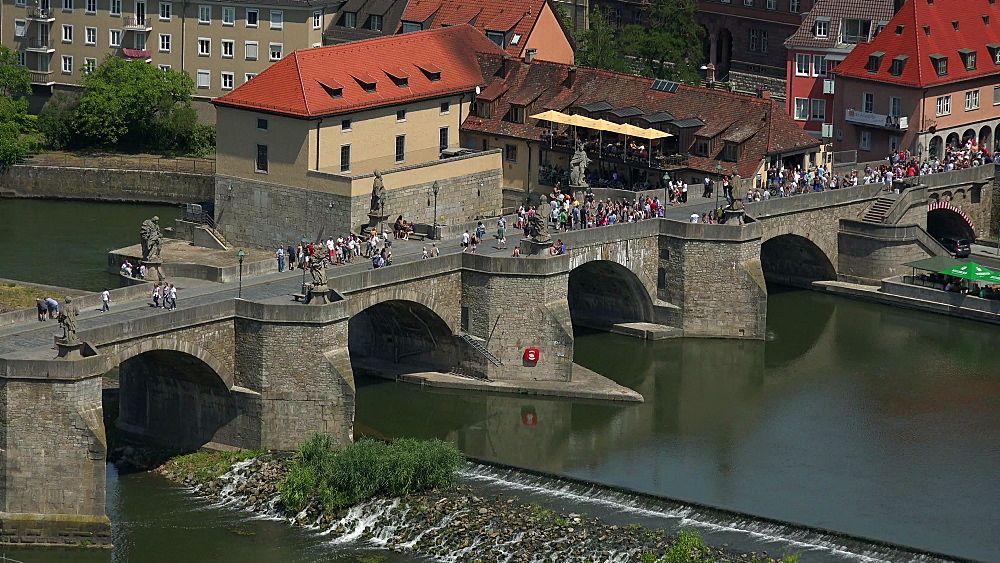 Old Bridge over Main River, Wuerzburg, Lower Franconia, Bavaria, Germany - 396-9071