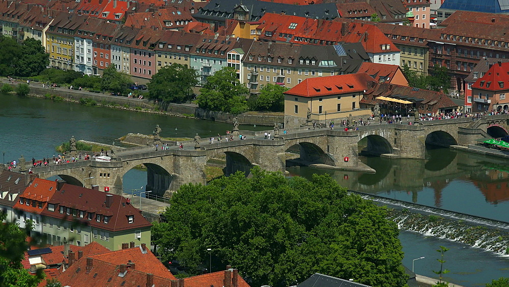 Old Bridge over Main River, Wuerzburg, Lower Franconia, Bavaria, Germany - 396-9076