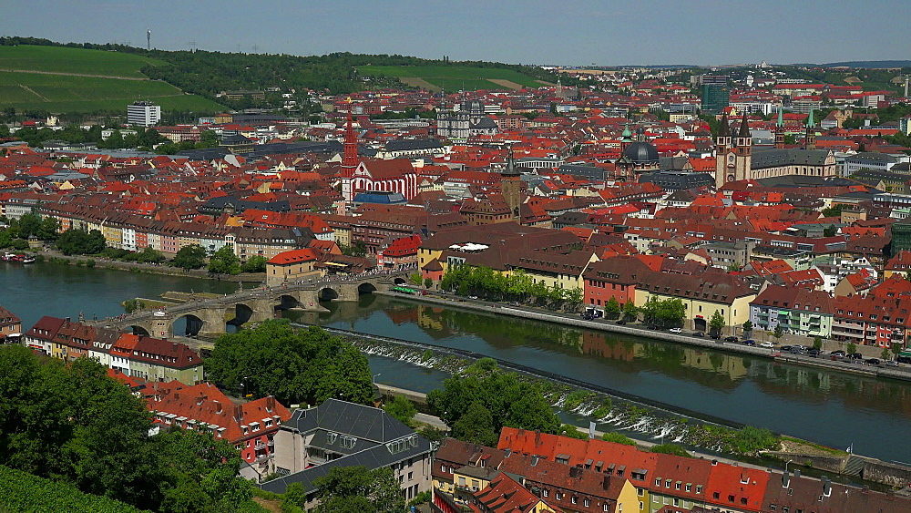City with Main River, Old Bridge, Neumuenster Collegiate Church, Town Hall, St. Kilians Cathedral, Wuerzburg, Lower Franconia, Bavaria, Germany - 396-9080