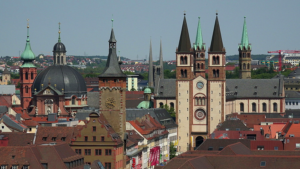 Town Hall and St. Kilians Cathedral, Wuerzburg, Lower Franconia, Bavaria, Germany