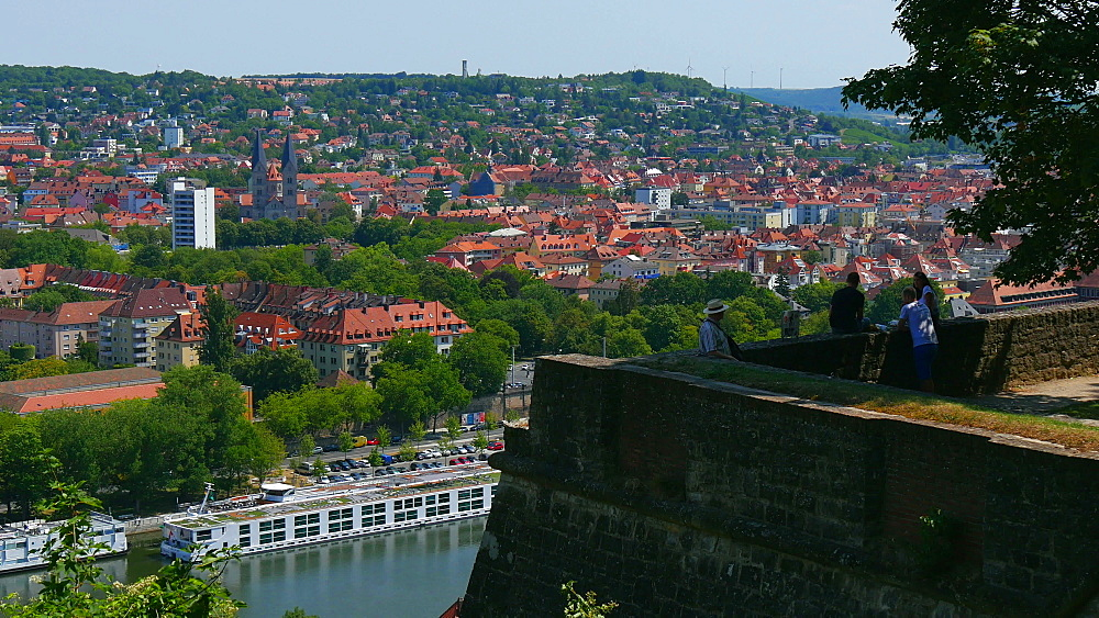 View from Marienberg Fortress over Main River to the city, Wuerzburg, Lower Franconia, Bavaria, Germany