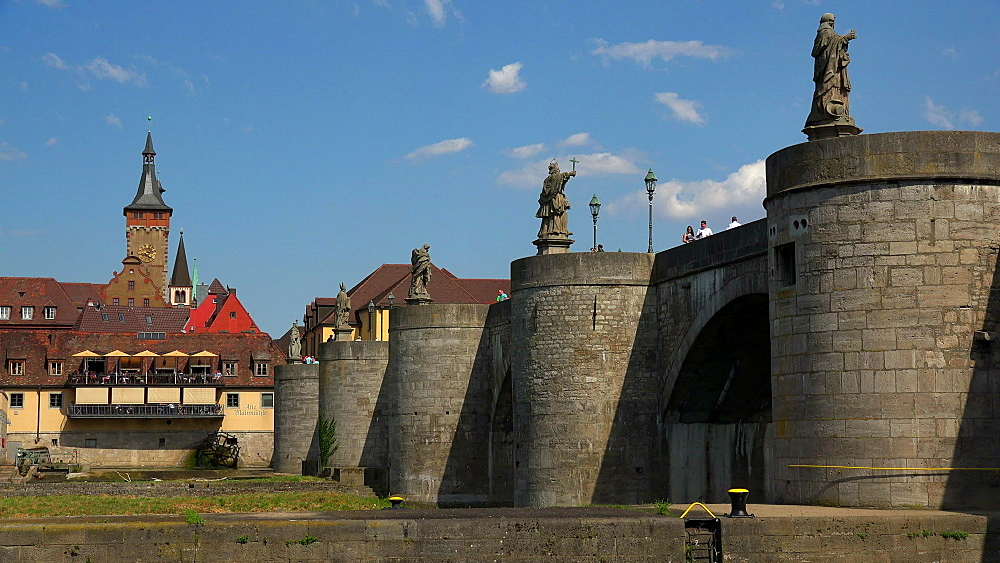 Old Bridge across Main River, Wuerzburg, Lower Franconia, Bavaria, Germany