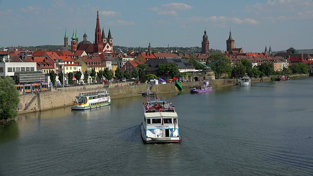 Main River at Mainkai with Marienkapelle an St. Kilian Cathedral, Wuerzburg, Lower Franconia, Bavaria, Germany
