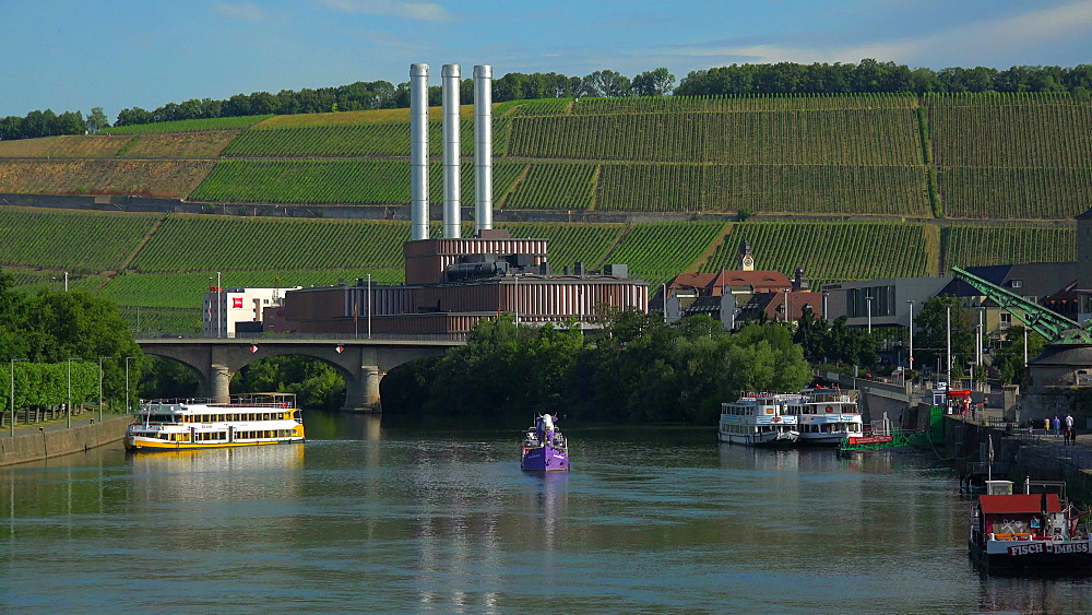 Main River at Kranenufer, Wuerzburg, Lower Franconia, Bavaria, Germany