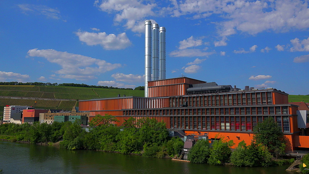 Main River at Alter Hafen and Kulturspeicher Building, Wuerzburg, Lower Franconia, Bavaria, Germany - 396-9096
