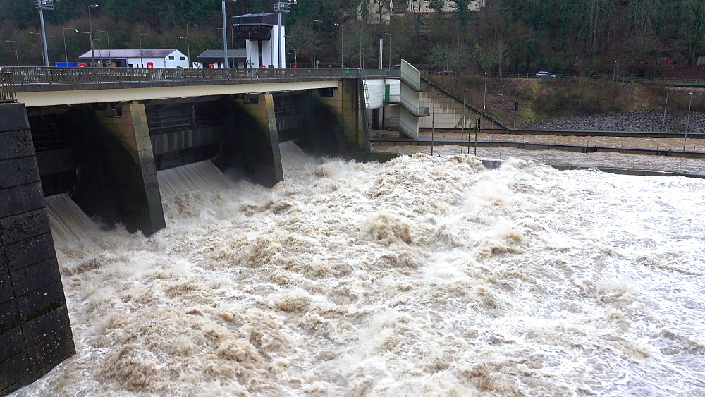Mass of water at flood at dam, Saar River, Mettlach, Saarland, Germany - 396-9115