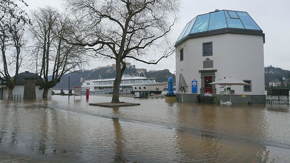 Flood at Konrad-Adenauer-Ufer of river Rhine, January 2018, Koblenz, Rhineland-Palatinate, Germany