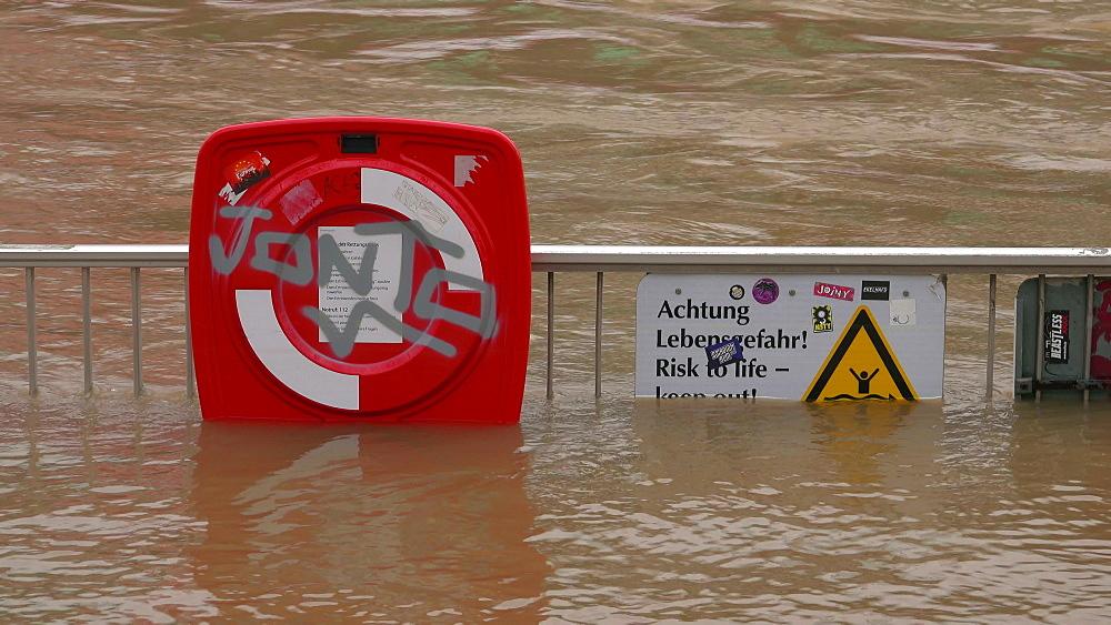 Flood of river Rhine at Rheingarten, Cologne, January 2018, North Rhine-Westphalia, Germany