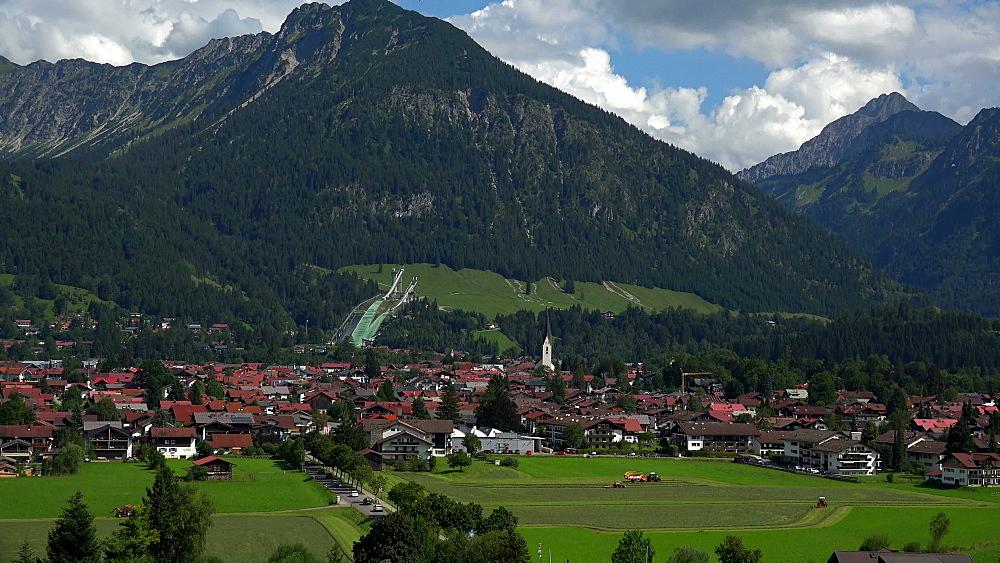 View towards Oberstdorf, Allgaeu, Swabia, Bavaria, Germany