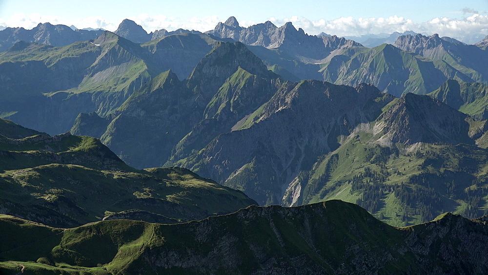View towards the Allgaeu Alps from Nebelhorn Mountain, Oberstdorf, Allg?u, Swabia, Bavaria, Germany