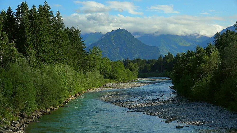 Iller River near Fischen and view to the Allgaeu Alps, Allg?u, Swabia, Bavaria, Germany