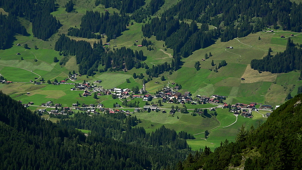 View from Kanzelwand to Mittelberg, Kleinwalsertal, Vorarlberg, Austria