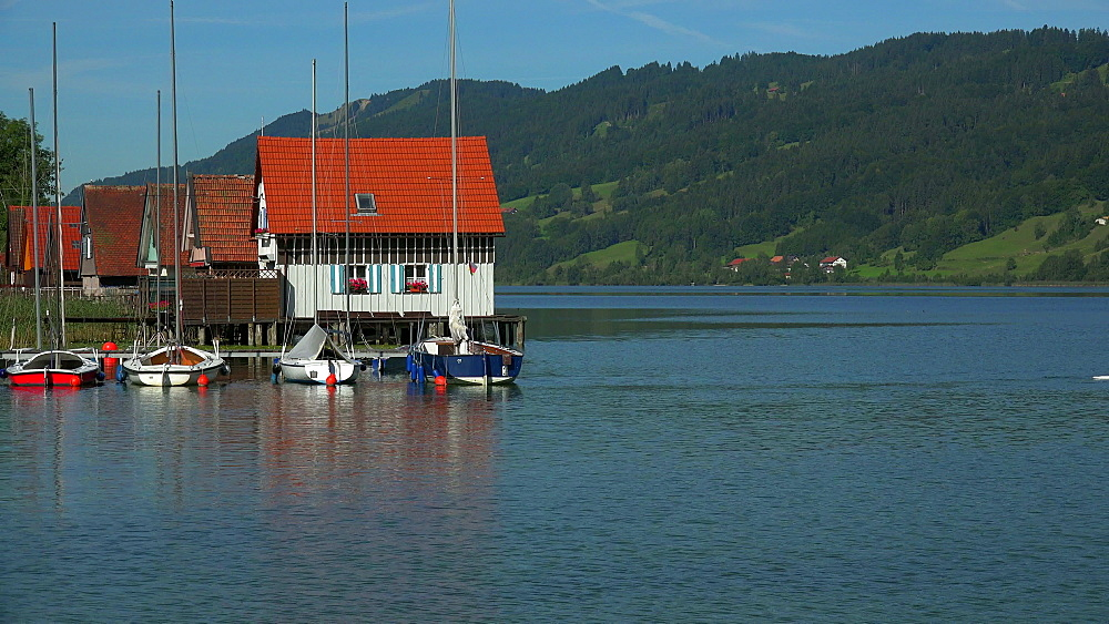 Fisherman's Houses on Lake Grosser Alpsee, Buehl, Immenstadt, Allgaeu, Swabia, Bavaria, Germany
