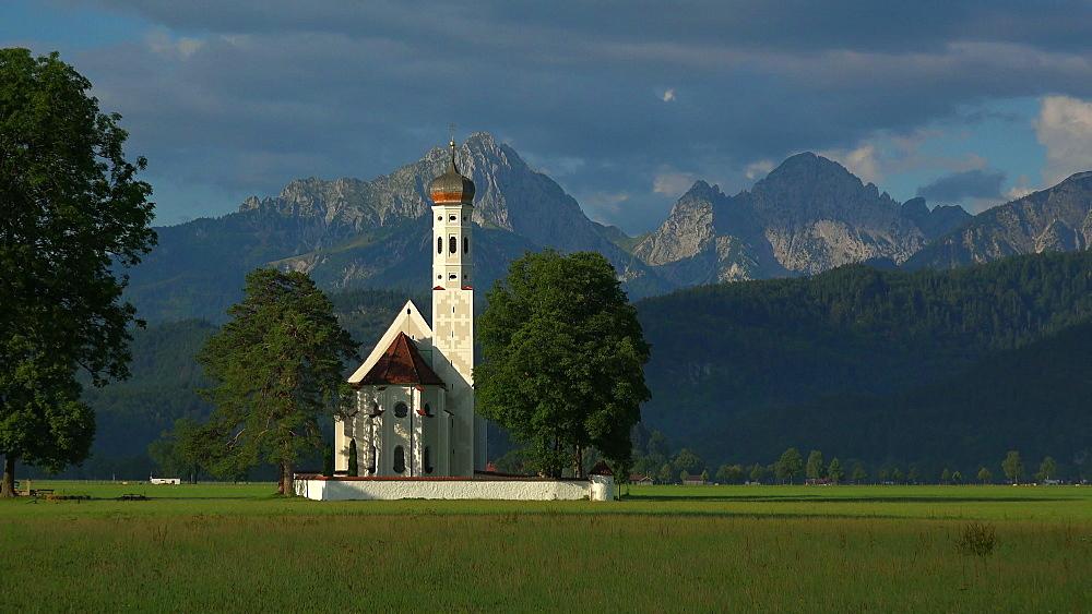 Pilgrimage Church St. Coloman and Tannheimer Alps near Schwangau, Allgaeu, Swabia, Bavaria, Germany