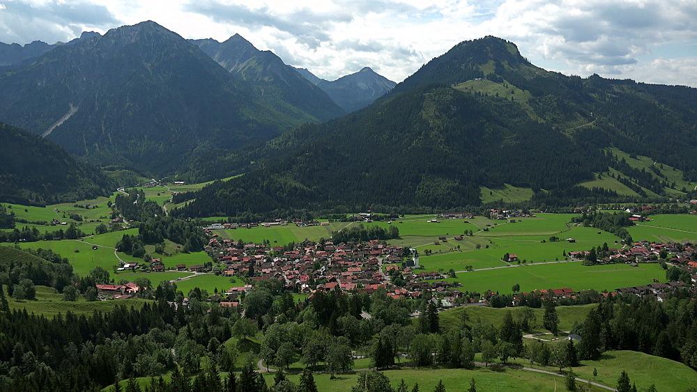 View of Bad Oberdorf and Bad Hindelang, Allgaeu, Swabia, Bavaria, Germany