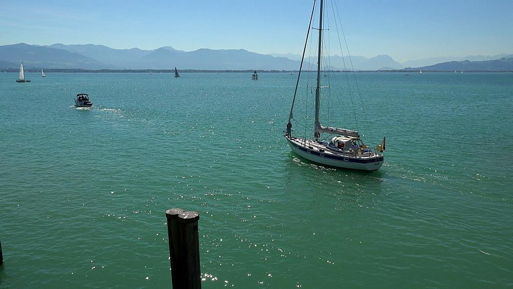 Ships on Lake Constance near Lindau, Swabia, Bavaria, Germany
