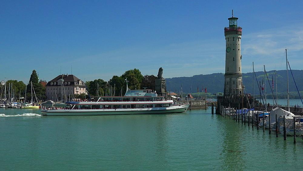Harbour of Lindau, Lake Constance, Swabia, Bavaria, Germany