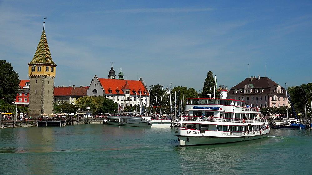Harbour of Lindau with Mang Tower, Lake Constance, Swabia, Bavaria, Germany