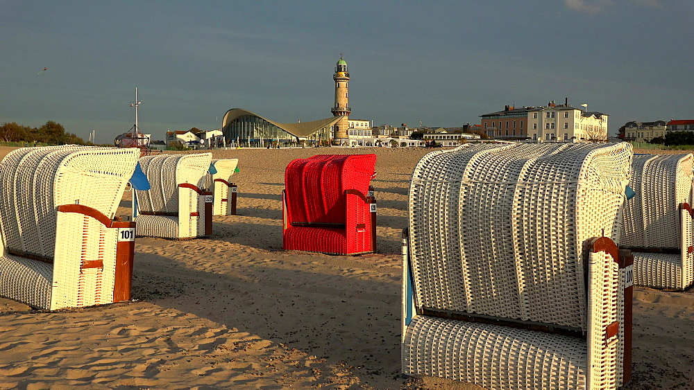 Beach and lighthouse in Warnemuende, Rostock, Mecklenburg-Western Pomerania, Germany
