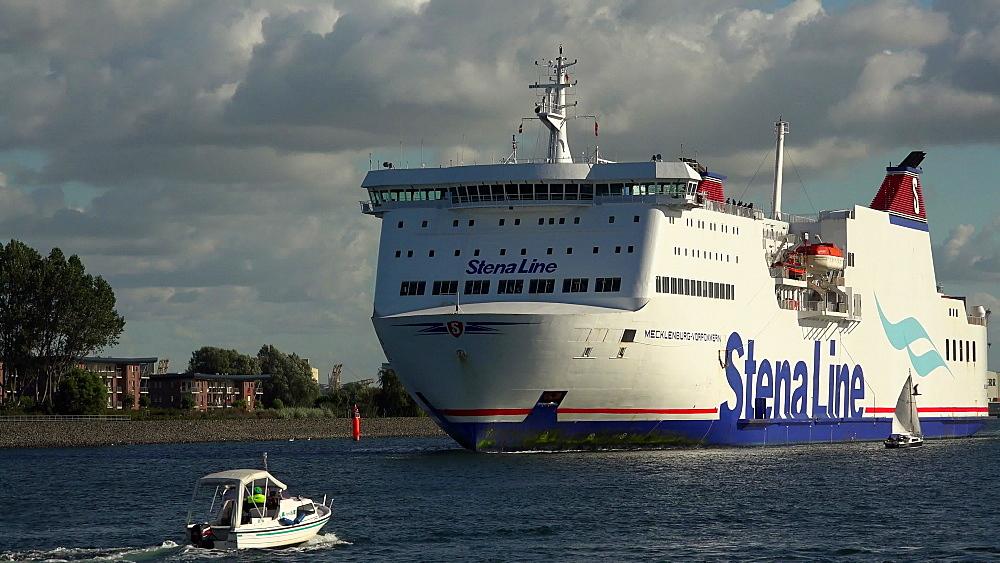TTLine ferry ship leaving the harbour of Warnemuende, Rostock, Mecklenburg-Western Pomerania, Germany