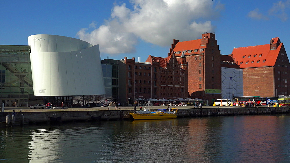 Nautical Pilot's House and Ozeaneum at the Harbour in Stralsund, Mecklenburg-Western Pomerania, Germany