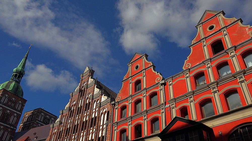 Houses at Badenstrasse and St. Nicolay Church, Stralsund, Mecklenburg-Western Pomerania, Germany